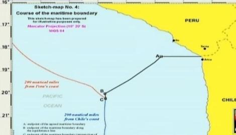 Así quedó finalmente el límite marítimo entre Chile y Perú. / Mapa: Radio Bio Bio.