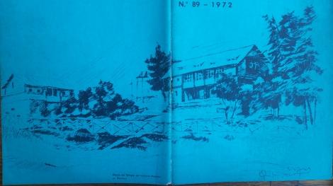 Así lucía el refugio del Instituto Nacional en 1972. El boceto fue la portada del último Boletín del Instituto Nacional antes de ser clausurado por la dictadura militar.