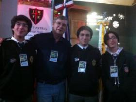 Alejandro Silva, Diego González y Joaquín Rodríguez, los integrantes de la delegación institutana.