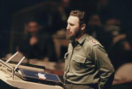 Fidel Castro, en uno de sus discursos más recordados en la Asamblea General de las Naciones Unidas.